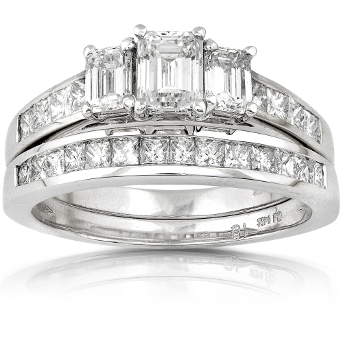 3 Stone Emerald Cut Diamond Wedding Set in 14K